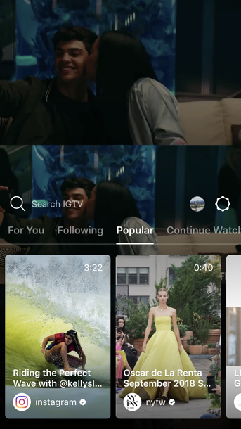 IGTV explore page video carousel