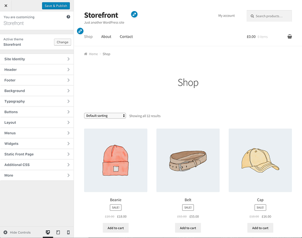 Woocommerce Storefront free WordPress theme