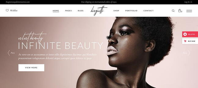 The all-encompassing layout of the WordPress ecommerce theme Biagiotti