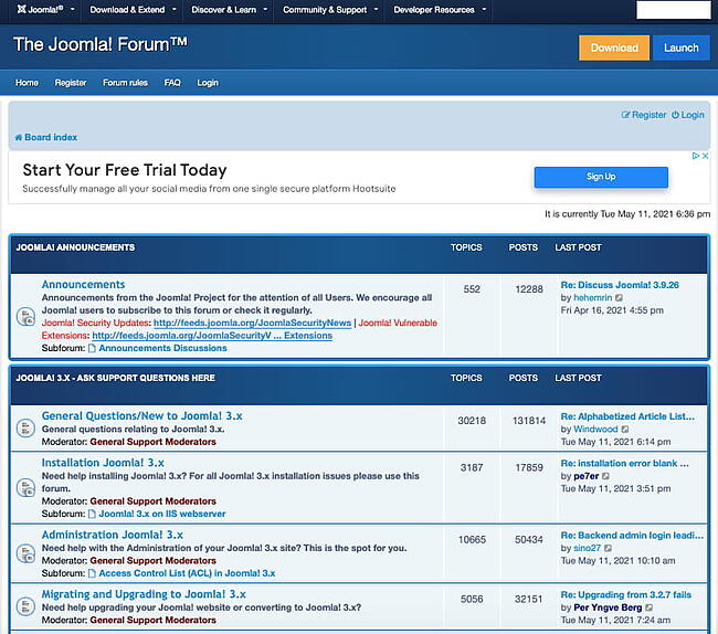The top threads on Joomlas support forum cover thousands of topics