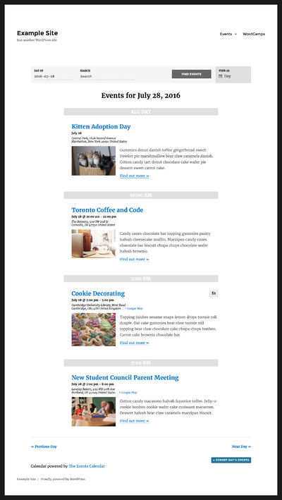 The Events Calendar for free WordPress plugins timetable different events