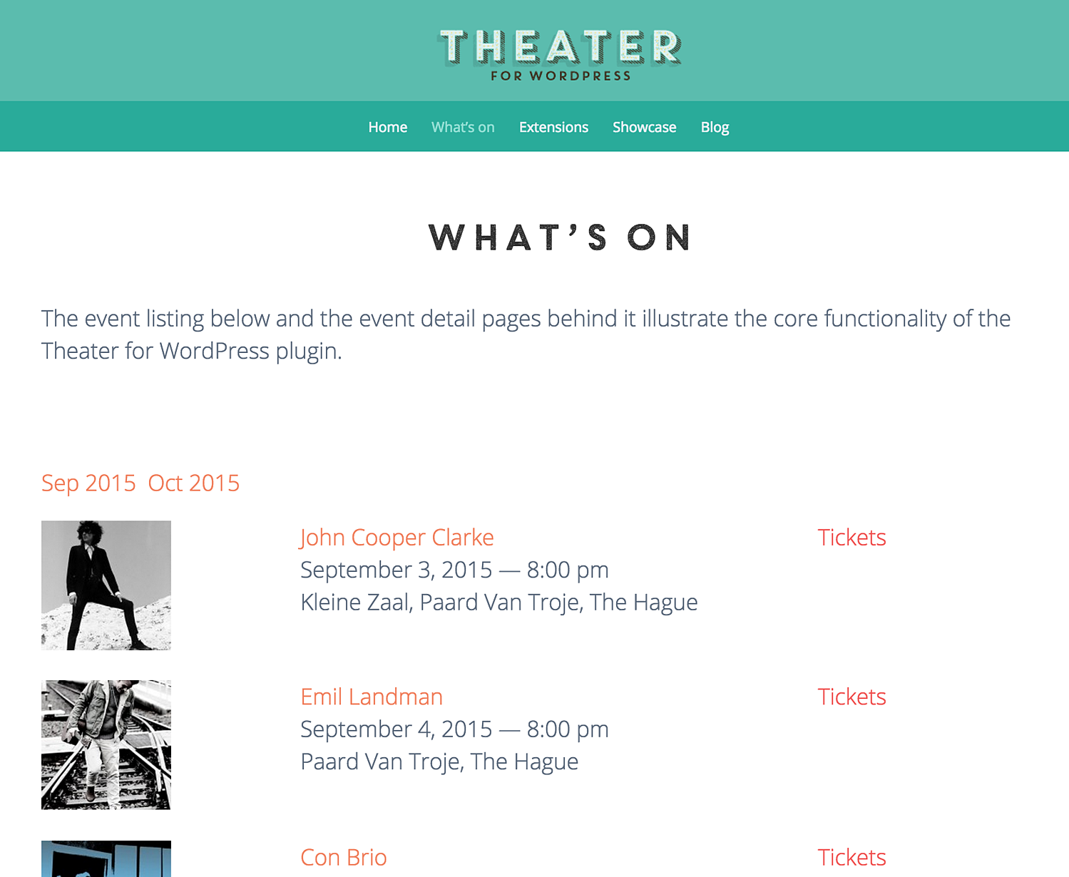 Theater for WordPress free WordPress plugins timetable different events