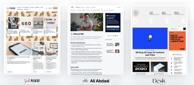 Three website examples built on the WordPress CMS alternative Ghost