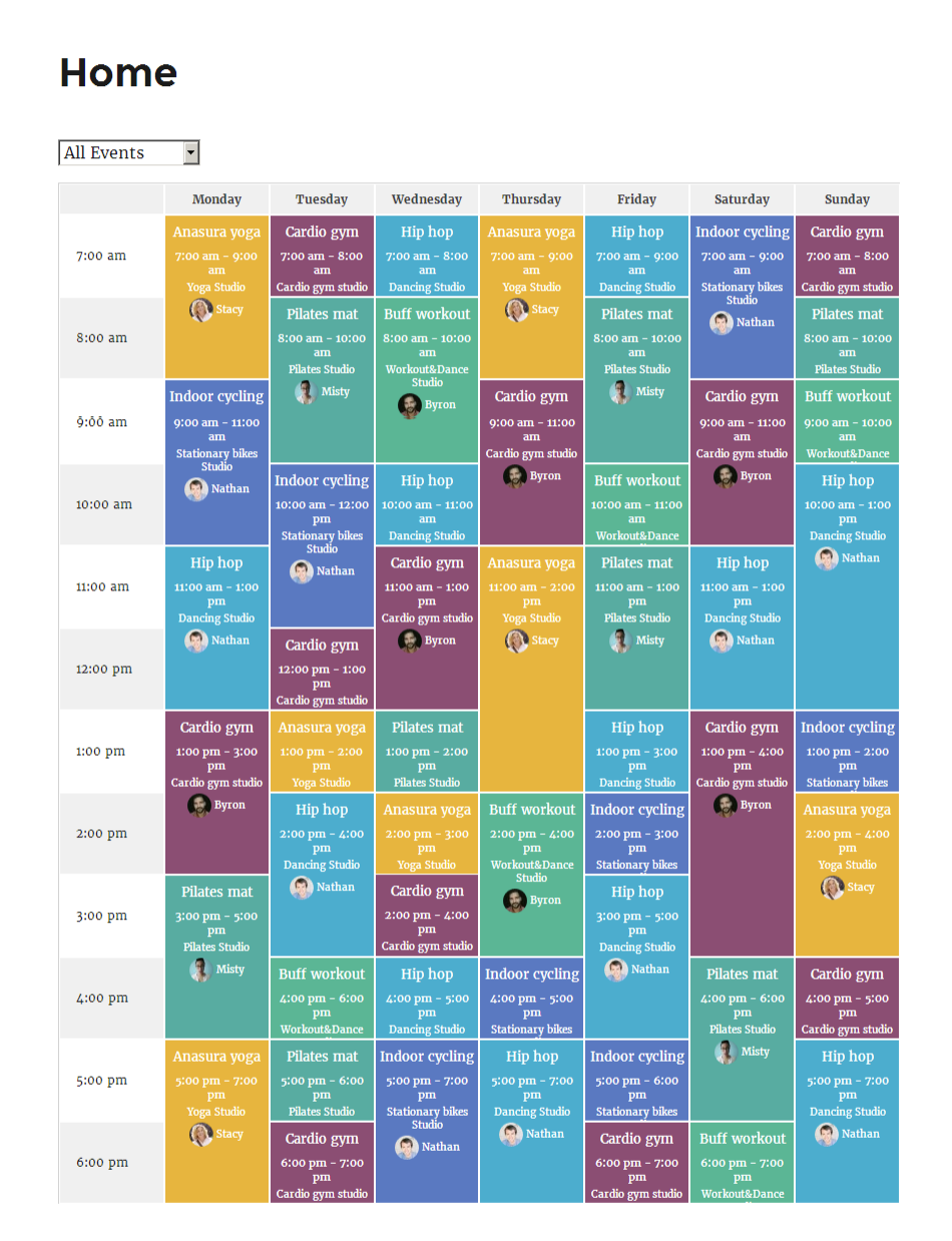 Timetable and Event Schedule for free WordPress plugins timetable different events