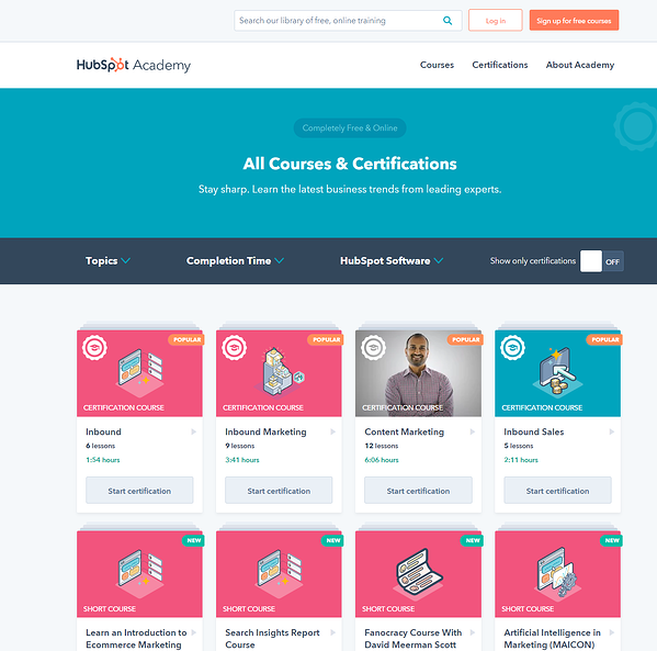HubSpot Academy courses and certifications.