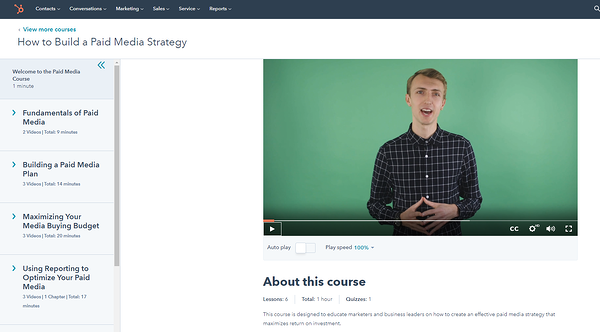 HubSpot Academy paid media strategy course.