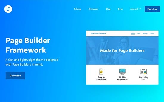 page builder framework elementor theme