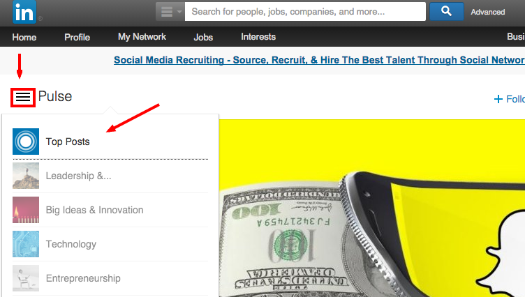 how to search linkedin pulse