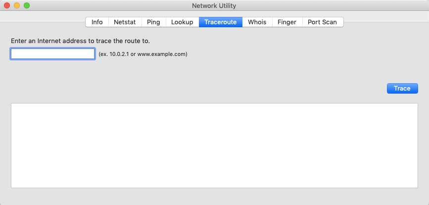 Traceroute in Network Utility on Mac