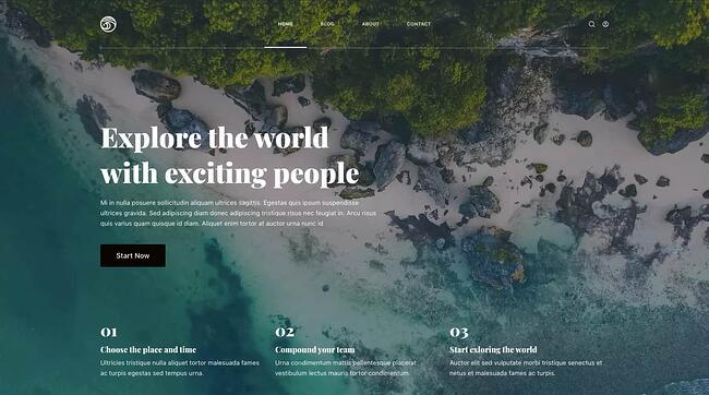 Travel demo of free responsive WordPress theme Blocksy