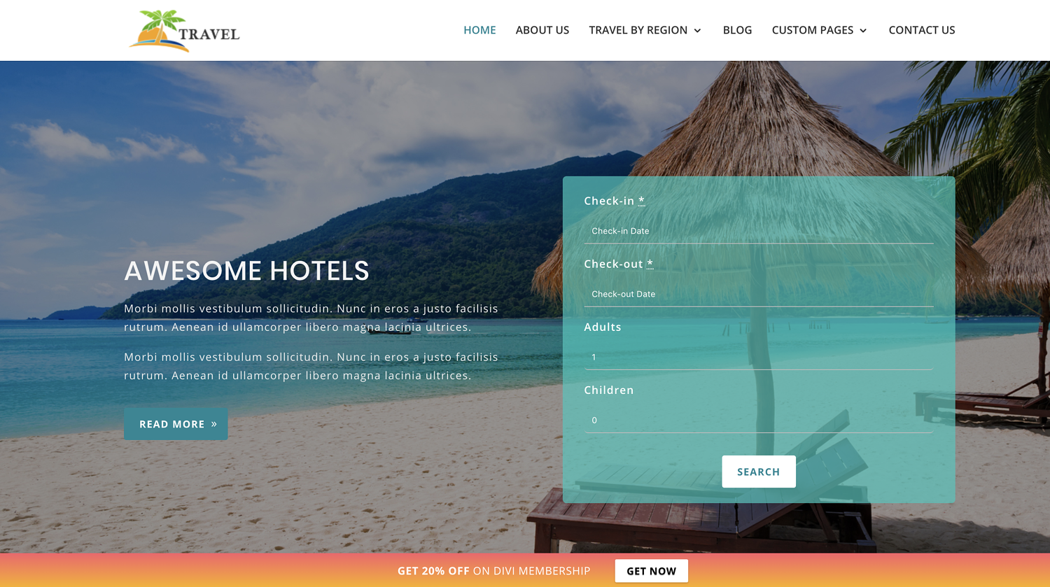 Travel theme to create travel business site using WordPress