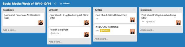 在Trello上创建的社交媒体日历
