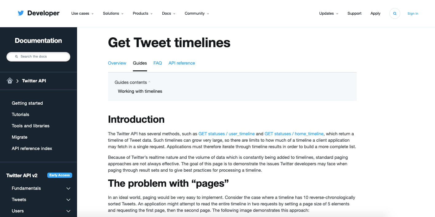 Twitters Tweet Timeline API endpoint documentation