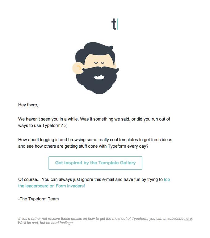 Typeform Email lead nurturing example