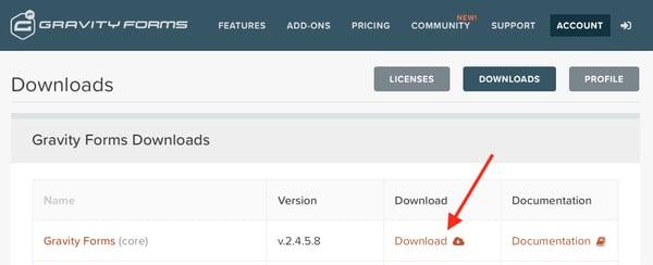 Downloading Gravity Forms, WordPress plugin.