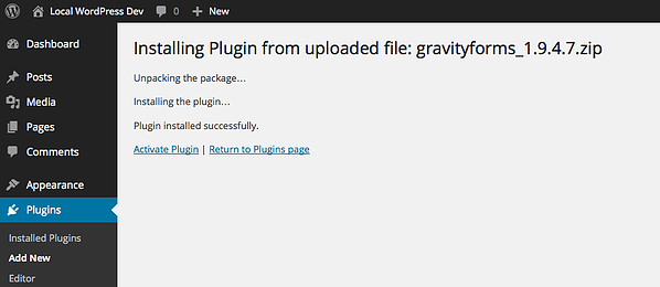 Install page for installing and activating the Gravity Forms WordPress plugin.