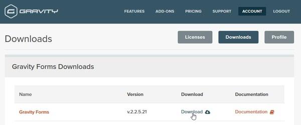 Download page on WordPress plugin, Gravity Forms.