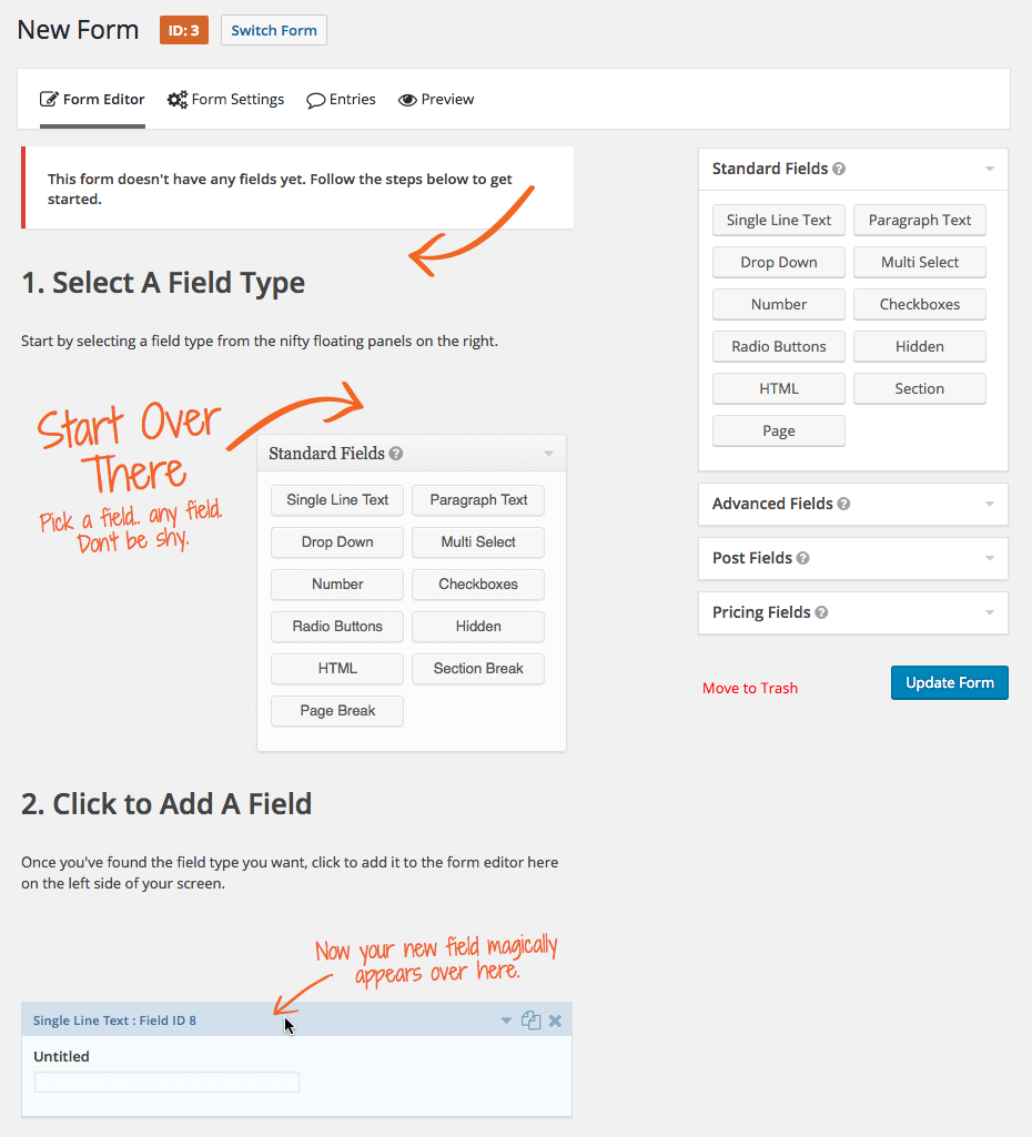 Create a form page on WordPress plugin, Gravity Forms.