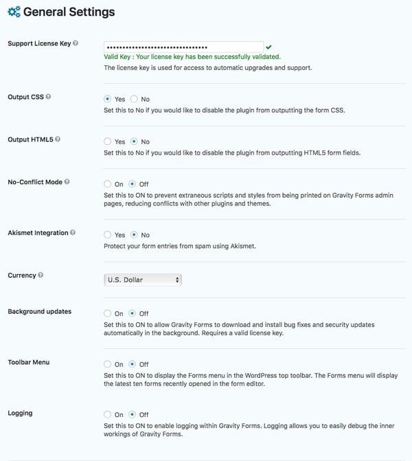 Global settings for WordPress plugin, Gravity Forms.