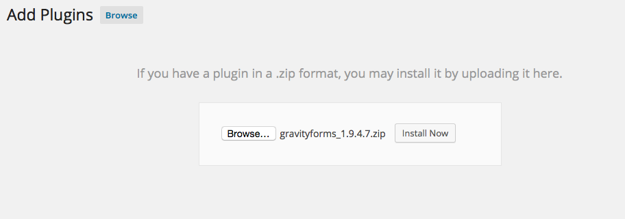 Upload page for uploading Gravity Forms to WordPress.