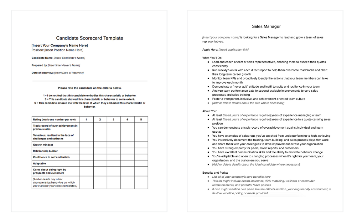 sales hiring and interviewing kit which includes the candidate scorecard template and a sales manager job description template