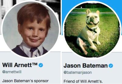 Funny twitter bios from @arnettwill and @BatemanJason