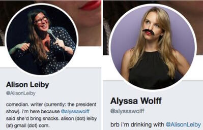 Funny Twitter bios from @AlisonLeiby and @Alyssawolff