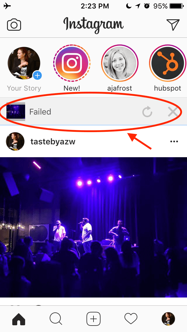 Error showing if your Instagram Story failed to upload
