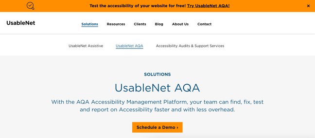 UsableNet AQA is an automated accessibility testing platform