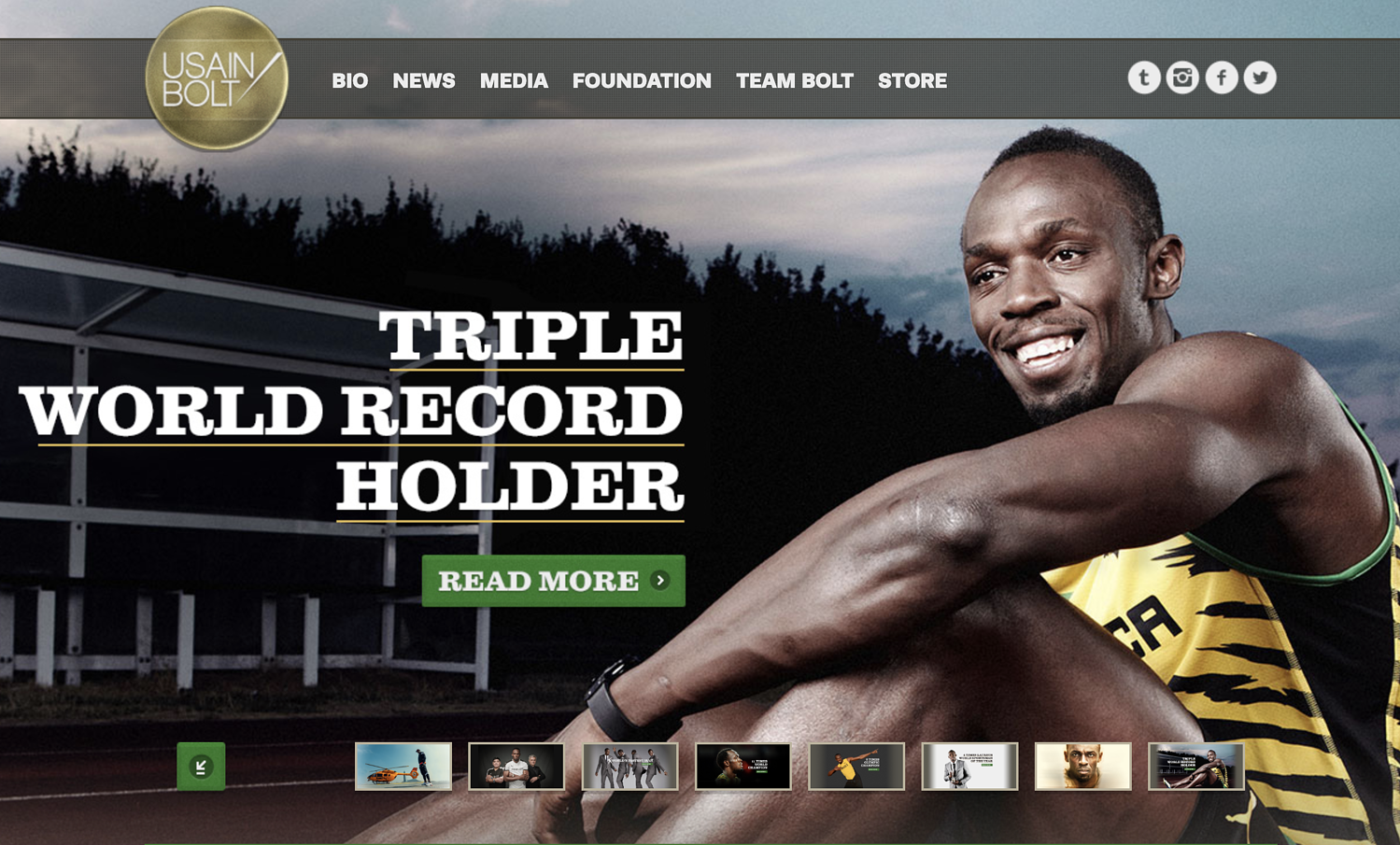 WordPress website example from Usain Bolt