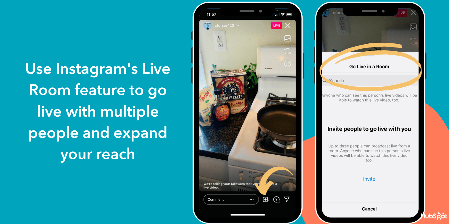 Use Instagrams Live Room featuer to expand your reach with your Live videos