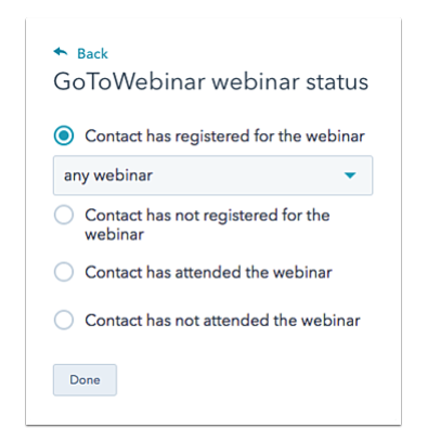 A GoToWebinar webinar status multi-answer menu to record a contact's webinar status for segmentation