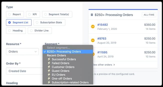User segmenting WooComerce data to orders over $250 with the Metorik plugin