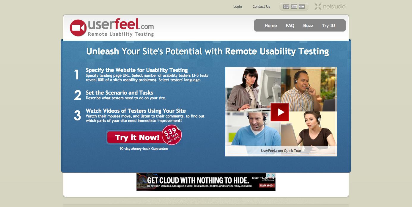 Homepage of Userfeel