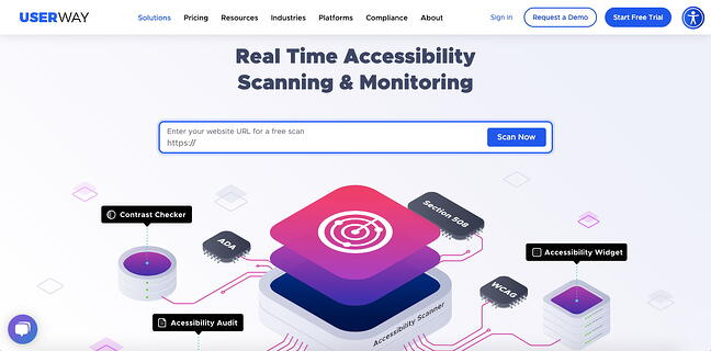 UserWays Accessibility Scanner is an automated accessibility testing tool that continuously monitors your site for accessibility errors