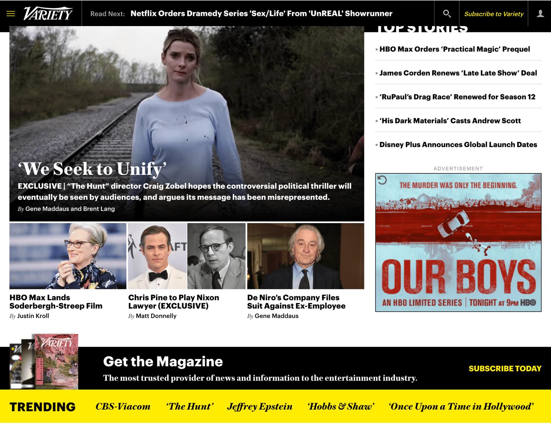 WordPress website example from Variety