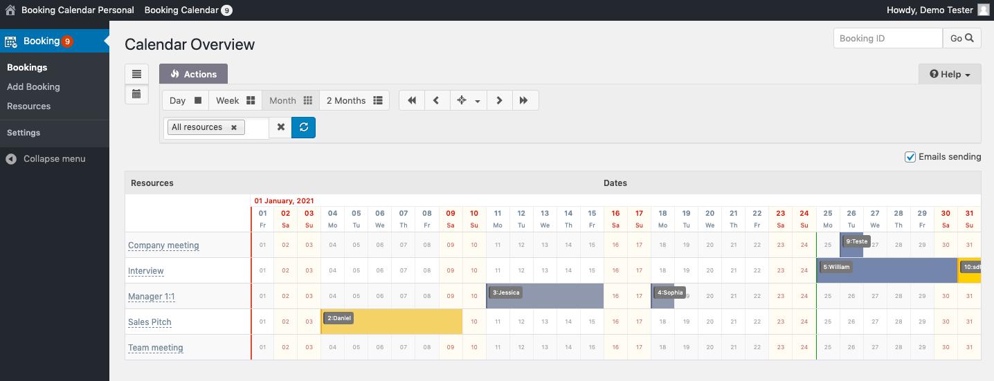 Viewing appointments in WordPress dashboard via Booking Calendar plugin