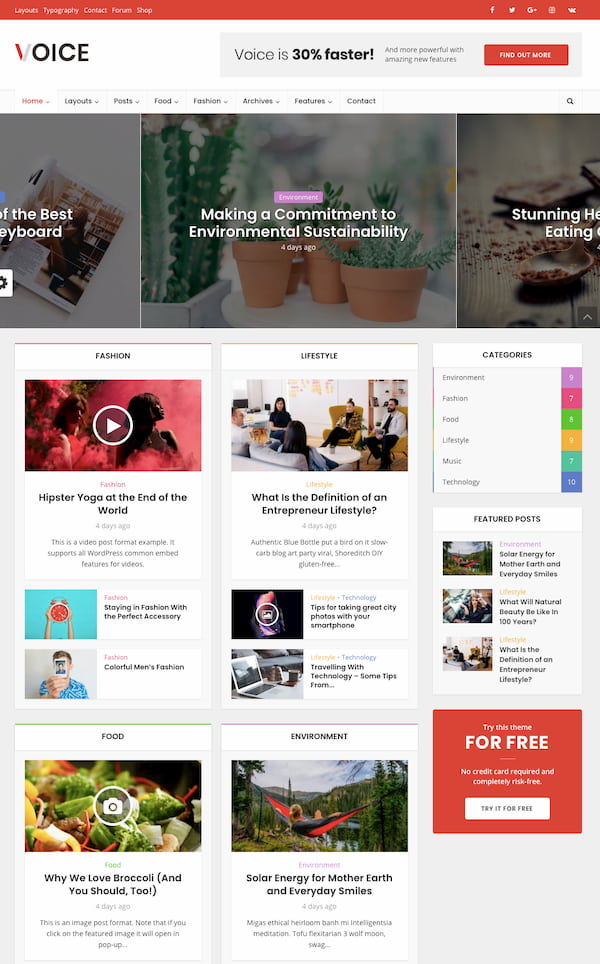 Voice WordPress theme demo with advertising space