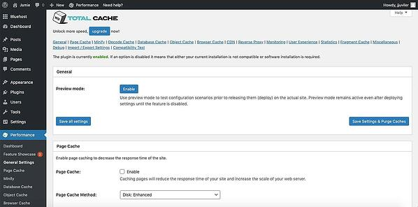 W3 Total Cache plugin admin page example