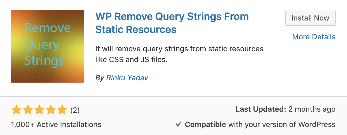 WP Remove Query Strings From Static Resources plugin