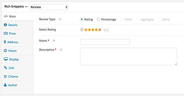 WP Rich Snippets wizard