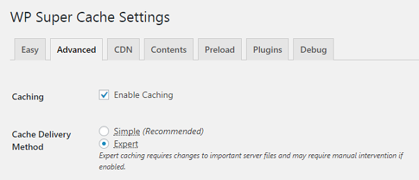 WP Supercache plugin settings page shows expert mode selected