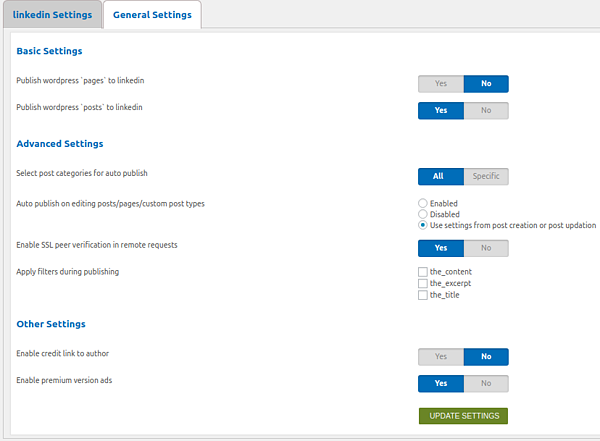 WP to LinkedIn Auto Publish settings page