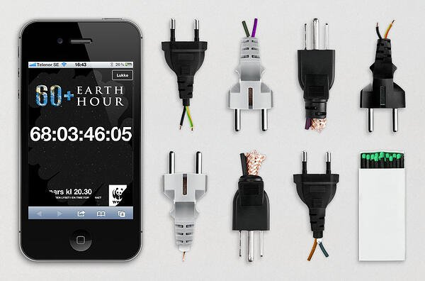 WWF earth hour campaign banner with plug strips