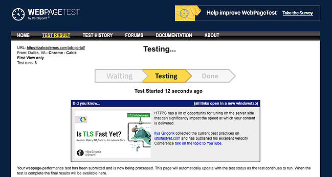 Wait for WebPageTest test to process to check your WordPress themes loading speed
