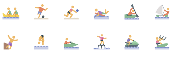 Water sports free icon set
