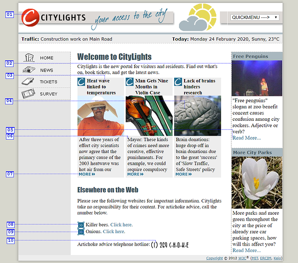 Welcome to CityLights! Annotated Inaccessible Home Page.