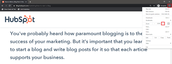 HubSpot blog post zoomed to 250% size in Chrome.