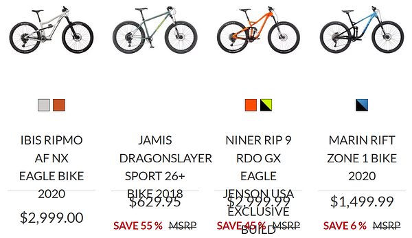 An online bike shop with text only zoomed to 200% on Firefox showing some overlapping text.