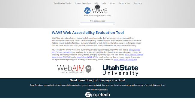 WAVE Web Accessibility Testing Tool